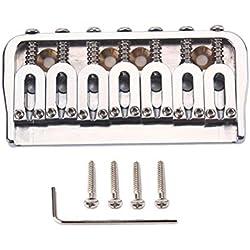 Healifty Chevalet de guitare électrique à 7 cordes Cordier queue de cheval avec vis de serrage pour pièces de rechange pour guitare électrique (Argent)