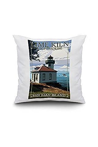 San Juan Island, Washington - Lime Kiln Lighthouse Day Scene (20x20 Spun Polyester Pillow Case, Custom Border)
