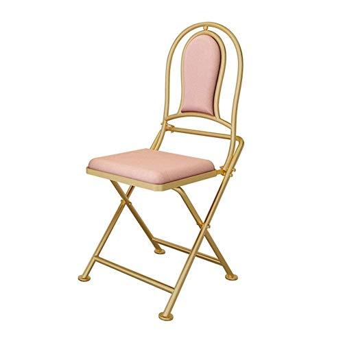 HAHEZDY Hocker Klapp Esszimmerstuhl,Metall Bar,Wohnzimmer Büro Freizeit Schmiedeeisen Rückenlehne Stuhl,Erwachsenen Outdoor Lazy Chair,Pink,95cm -