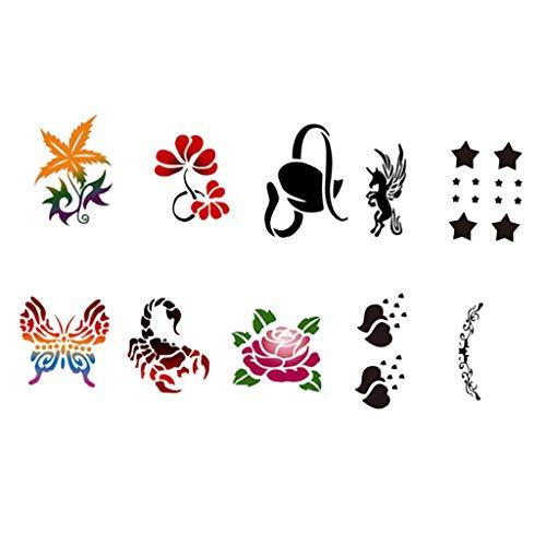 Fenteer 10 Muster Tier Blume Gesichtsfarbe Körperfarbe Schablonen Gesicht Malvorlage Wiederverwendbare Tattoo Schablonen Sprühen Malerei Airbrushing ()