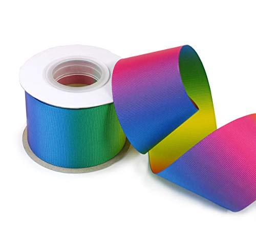 Polyester Ripsband-Farbverlauf Rainbow Abstract Double Print Cheer Bänder für Haar Schleife 10Meter 2