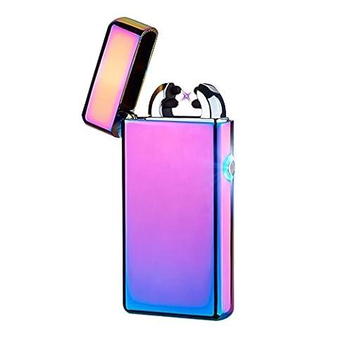 Lichtbogen Feuerzeug, USB Elektronisches Feuerzeug Dual Lichtbogen Aufladbar winddicht Flammenlose-Von Kepooman (Mehrfarbig)