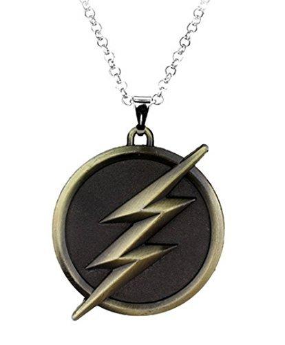Glazed Black Cherry Flash2 Steampunk Halskette mit Blitz, Bronze, Justice League-Anhänger, Fantasy, Comics