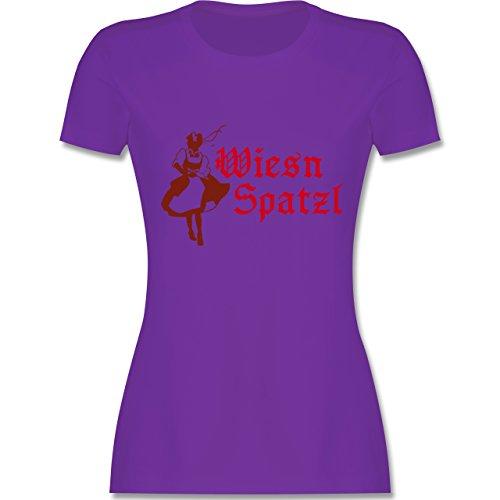 Oktoberfest Damen - Wiesn Spatzl - tailliertes Premium T-Shirt mit Rundhalsausschnitt für Damen Lila