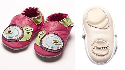 Jinwood designed by amsomo - Girls - Maedchen - Hausschuhe - Lederpuschen - Krabbelschuhe - soft sole / mini shoes div. Groeßen snail fuchsia mini shoes