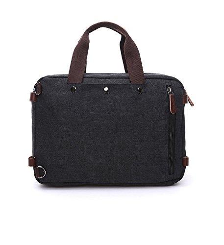 Herren Canvas Tasche Canvas Handtasche Schultertasche Ideal für Büro Canvas Rucksack Outdoor Schwarz