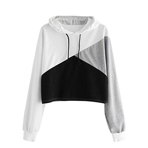 TEBAISE Herbst-Art- und Weisefrauen-Gym-laufende Sport-Team-Abnutzungs-Lange Hülsen-Hoodie-Sweatshirt-Pullover-mit Kapuze Pullover-Oberseiten-Blusen-Pullover(Weiß,S)