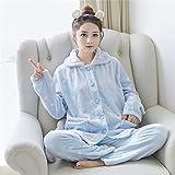 Handaxian Pyjama Hiver Costume Dames Pyjama Chaud Pyjama à Manches Longues en Flanelle Rose Mignonne épais Service à Domicile 4 XXL...