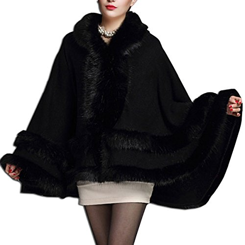 Kaxidy donna mantelli cappotti poncho e mantelle soprabito (nero)