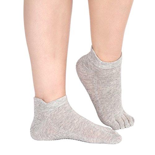 Wongfon 5 Zehen Full Fuß rutschfeste Socken mit Gummisohlen Baumwolle Atmungsaktivität ideal für Yoga Pilates Tanz Fitness (Spandex-stretch-zehen-socken)