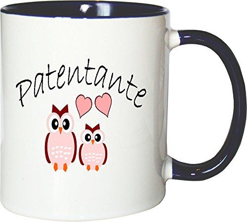 Mister Merchandise Kaffeebecher Tasse Patentante - Eulen Teetasse Becher Weiß-Blau (Kaffee Eule Blaue Tasse)