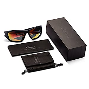 Carfia Gafas de Sol Deportivas Para Hombre y Mujer Gafas de Sol Polarizadas para Ciclismo Conducción Esquiar Golf Correr MTB B