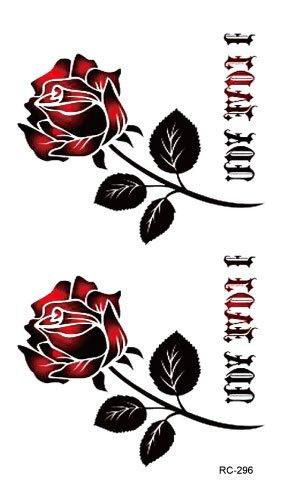 stickers-de-tatouage-temporaire-non-permanent-pour-lart-corporel-rose-rouge-rc296-temporary-tattoo-b