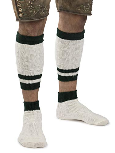 Trachtensocken Loferl Trachten Strümpfe Klassik Lederhose weiss-beige/grün Socken (39-42)