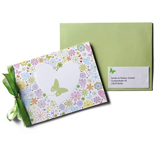 Karte mit Herz und Blumen \'Flori\' - 15 fröhlich bunte Karten zur Geburt oder Taufe mit Satinschleife und Aufklebern - zum einfachen Selbstbedrucken