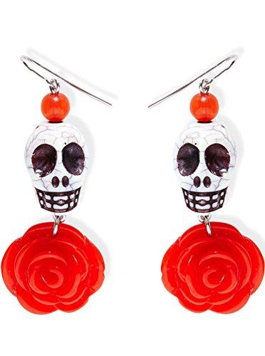 Karneval Klamotten Ohrringe Totenkopf Tag der Toten Halloween (Der Toten Tag Baby Kostüme)