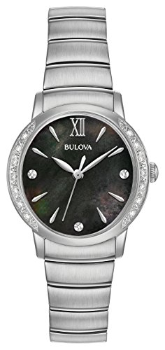 Bulova orologio al quarzo in acciaio INOX vestito da donna, colore: tonalità argentata (Model: 96R213)