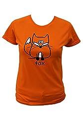 Womens fox T.shirt. Orange.