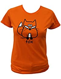 Womens fox T.shirt. Orange.