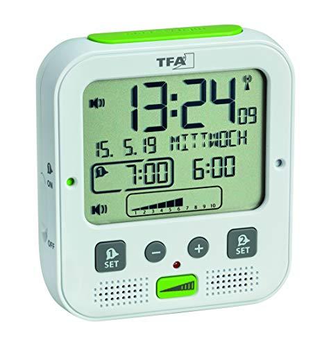 TFA Dostmann Boom de Alto Rendimiento Radio Despertador con vibración, plástico, Blanco, 11x 6x 12cm