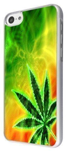Iphone 5c Motif feuille de Cannabis Style Jamaïque Cellbell Coque arrière rigide métal et plastique avec cadre transparent