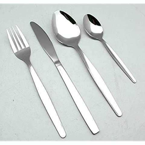 EXZACT EX826 Set di 24 pezzi di posate in acciaio inox - 6 Forchette, 6 Coltelli Cena, 6 Cucchiai Cena, 6 Cucchiaini (Set di posate x 24)