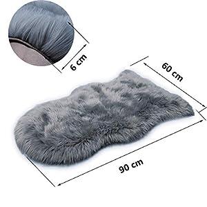 HEQUN Faux Lammfell Schaffell Teppich Kunstfell Dekofell Lammfellimitat Teppich Longhair Fell Nachahmung Wolle Bettvorleger Sofa Matte(Grau, 60 X 90 cm)