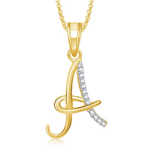 Valentine Gifts Meenaz Gold Plated 'A' Letter Pendant Locket Alphabet Heart For Men And Women...
