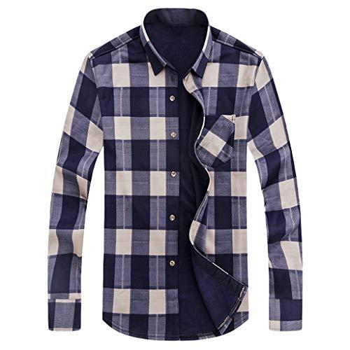 Camicia flanella uomo stampa a quadri manica lunga slim fit autunnale invernale calda casual pliad camicie moda di peluche(beige,xxxl)