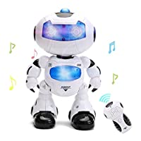WISHTIME Remote Control Walking Robot Toy Intelligent Walking RC Space Robot with Music& Light for Kids
