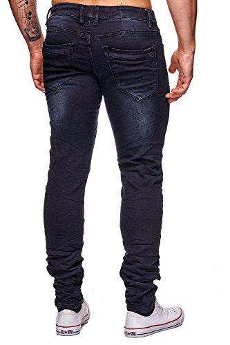 MEGASTYL Jeans-Hose Herren Streetwear-Style Jogg-Denim Darkness Schwarz Stretch 5-Pocket Slim-Fit Schwarz