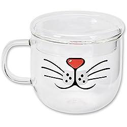 DSstyles Taza de café de taza de café del vidrio de 550ml Modelo de la barba del gato Taza de té para la taza del agua potable con el regalo de cumpleaños de la tapa