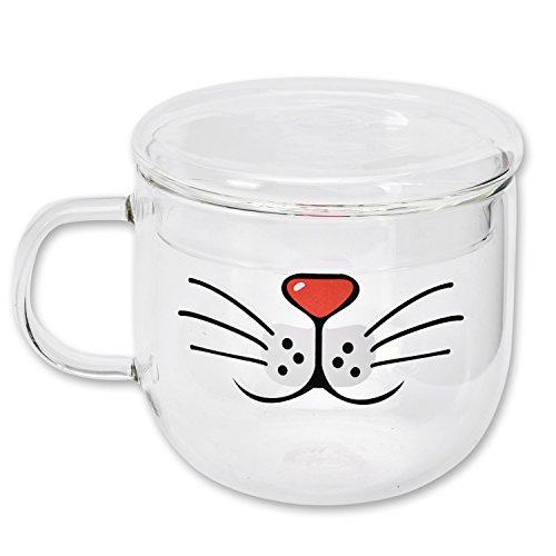 DSstyles gato barba gato boca de cristal taza de café con tapa para microondas transparente taza de té