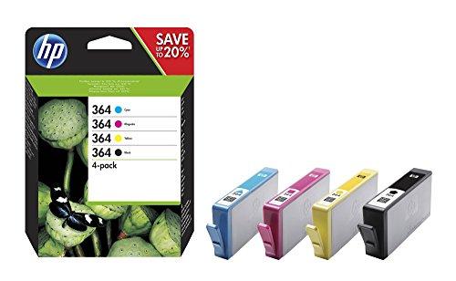 HP 364 Pack de 4 Cartouches d'encre d'origine Cyan/Magenta/Jaune/Noir