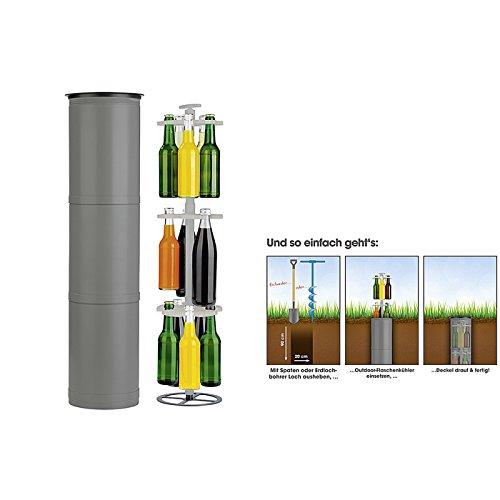 EASYmaxx 07787 Flaschenkühler Outdoor | Versenkbarer Erdloch-Getränkekühler | Für Camping, Strand, Festivals, grau