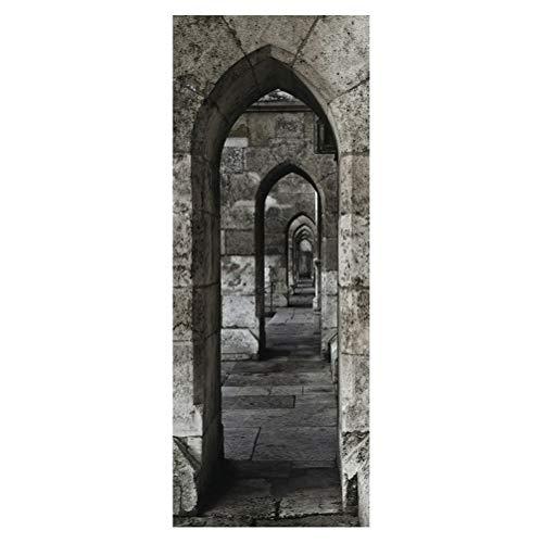 Vosarea 2 Stücke 200x77 cm Bogen Stein Selbstklebende 3D Tür Wandtapete Aufkleber für Wand Wohnkultur -