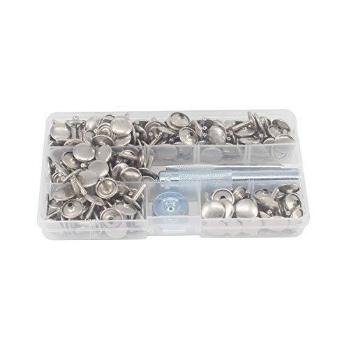 Trimming Shop 12mm Nieten Doppel Kappe Silber, Satz mit 100 Pcs mit 3pcs Befestigung Hand-Werkzeug Set für Leder Handarbeiten, Bekleidung Reparatur, Rostfrei, aus Messing -