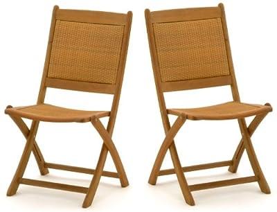 2x Belardo Hartholz Rattan Garten Holz Stuhl Gartenstuhl Klappstuhl Möbel Set - ähnlich wie Teak