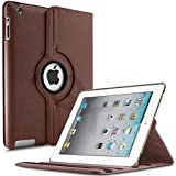 Tgk 360 Degree Rotating Leather Case Cover Stand For Ipad 4, Ipad 3, Ipad 2  Brown