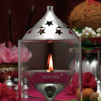 Borosil Akhand Diya (Medium, Nickel)