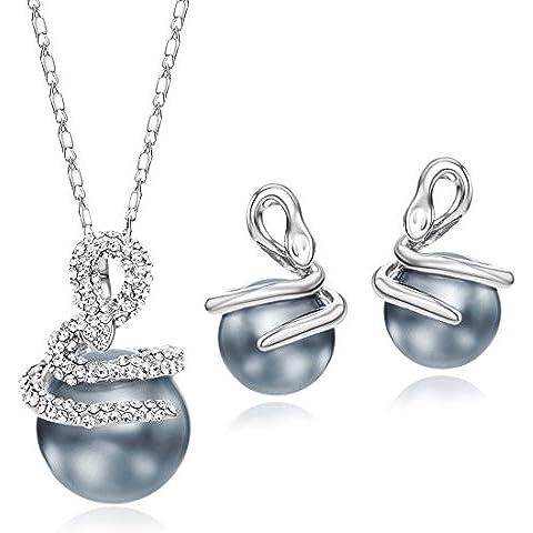 NEOGLORY Conjunto de Joyas con Blancos Rhinestones Checos Perlas Gris Collar Pendientes Serpientes Joya Original Mujer
