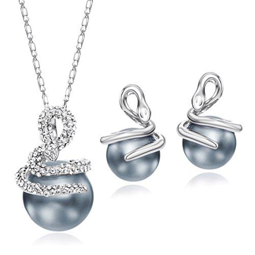 NEOGLORY Schmuck-Sets (Halskette Ohrringe) Tschechischen Strass-Steinen Grau Perlen Schlangen Damen (Schlange Grau)