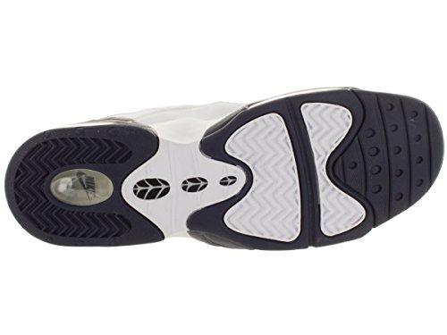 Nike Air Max Sensation, Chaussures de Sport-Basketball Homme, Taille Blanc / bleu / argenté (blanc / bleu marine minuit - blanc - argenté métallique)
