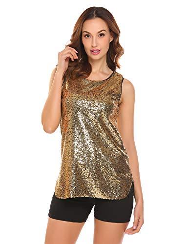 Parabler Damen Glitzer Paillette Top Sparkle verziert Shimmer Shirt Rundhals Shine Loose Fit Ärmellos Bluse Weste Tank Casual Vest Tunika Gold M