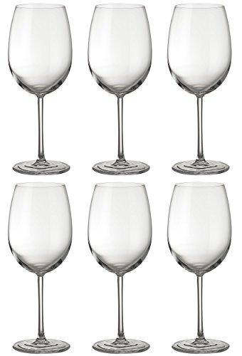 Jamie Oliver Waves Rotweinglas 6x580 Milliliter Klauenhammer Hoch und Hoch Ultramoderne Kristallweingläser Set Schöne klare und moderne Gläser mit langem Stiel für Hochzeiten zu besonderen Anlässen