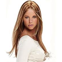 Meylee Pelucas Brown destacan rubia largo rayita recta Natural belleza mujeres señoras pelucas del pelo