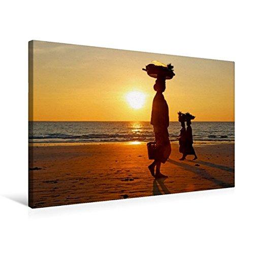 Calvendo Premium Textil-Leinwand 75 cm x 50 cm Quer, Verkäuferinnen am Ngapali Beach | Wandbild, Bild auf Keilrahmen, Fertigbild auf Echter Leinwand, Leinwanddruck Orte Orte