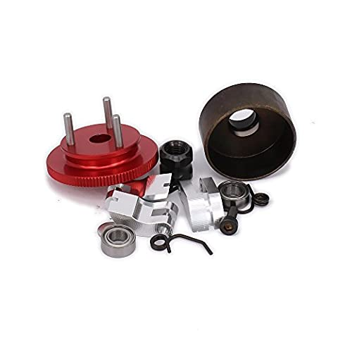 RCAWD Clutch Bell 14T Gear Flywheel Assembly Bearing Clutch Shoes Springs Cone Engine Nut for 1/8 RC Hobby Model Nitro Car HPI HSP Traxxas Axial Himoto 1set(Red)