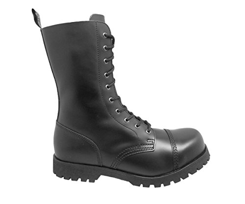 Boots & Braces Bottes rangers avec lacets 10 trous, Noir Noir - Noir