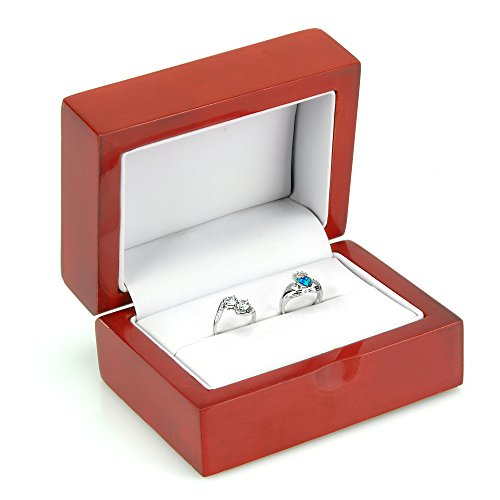 Geff House Cherry Holz Double Ring Schmuckständer Geschenk-Box